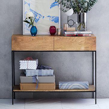 Rustic Storage Console Raw Mango Modern Home Office Furniture Industrial Storage Home Decor