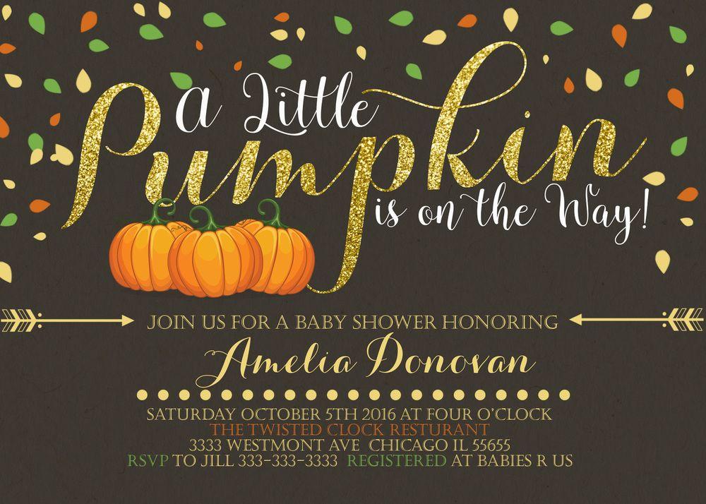 A little pumpkin baby shower invitation fall theme printable ...