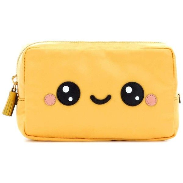 Anya Hindmarch Kawaii Cosmetic Pouch (€315) ❤ liked on Polyvore featuring beauty products, beauty accessories, bags & cases, bags, clutches, yellow and anya hindmarch