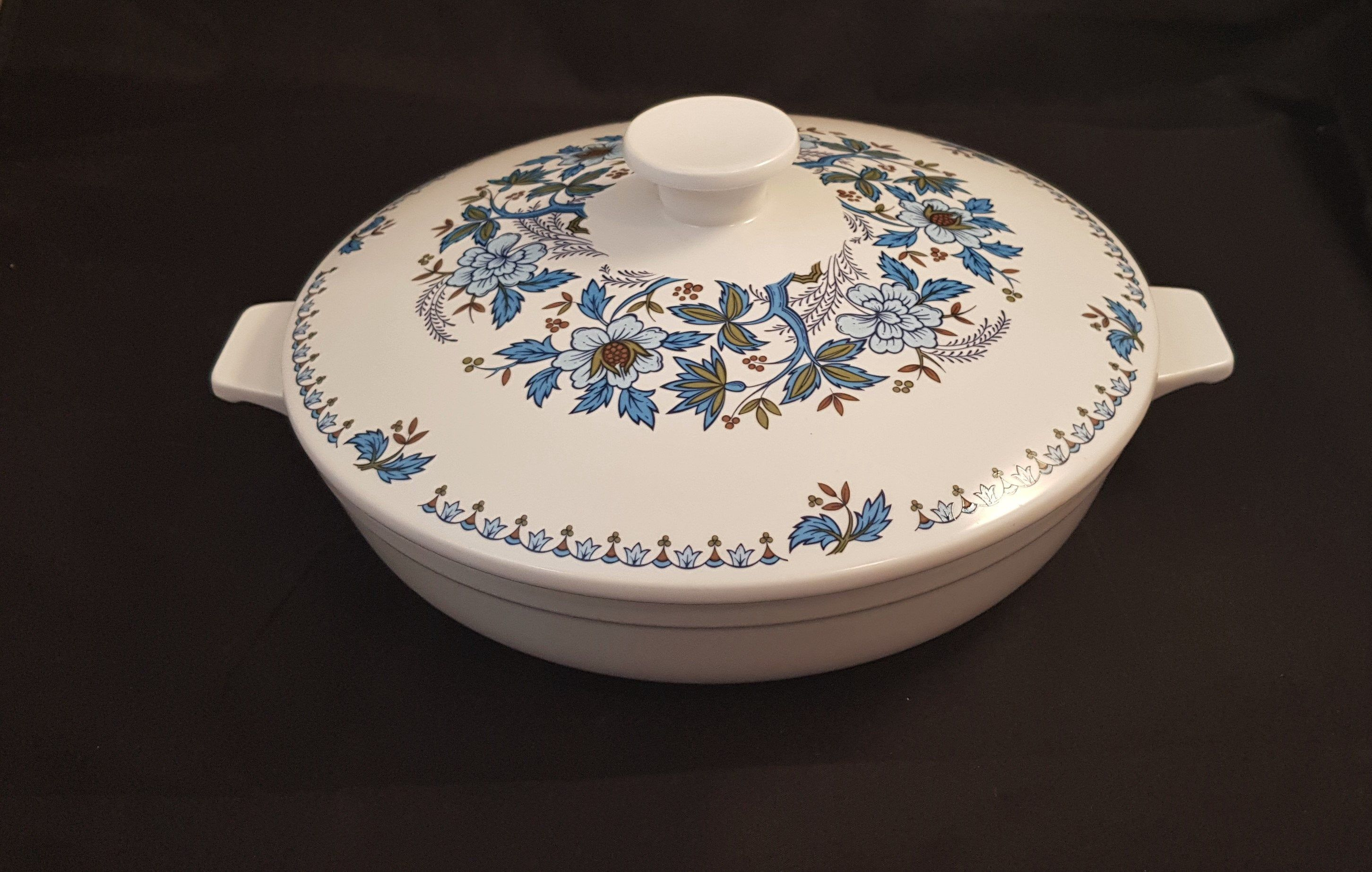 Excited to share the latest addition to my shop Vintage Japanese Noritake Progression Blue Moon China Casserole Dish Lidded Blue And White Floral Tureen Dish Japan 60s  S...