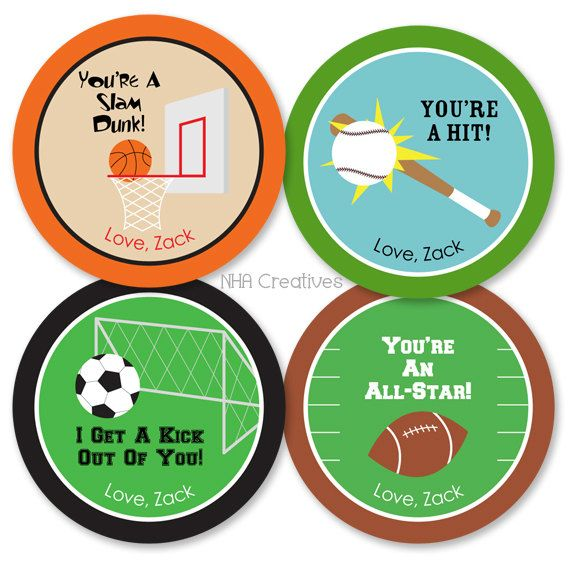 Personalized Sports Valentines Day Tags Soccer Baseball – Football Valentines Day Cards