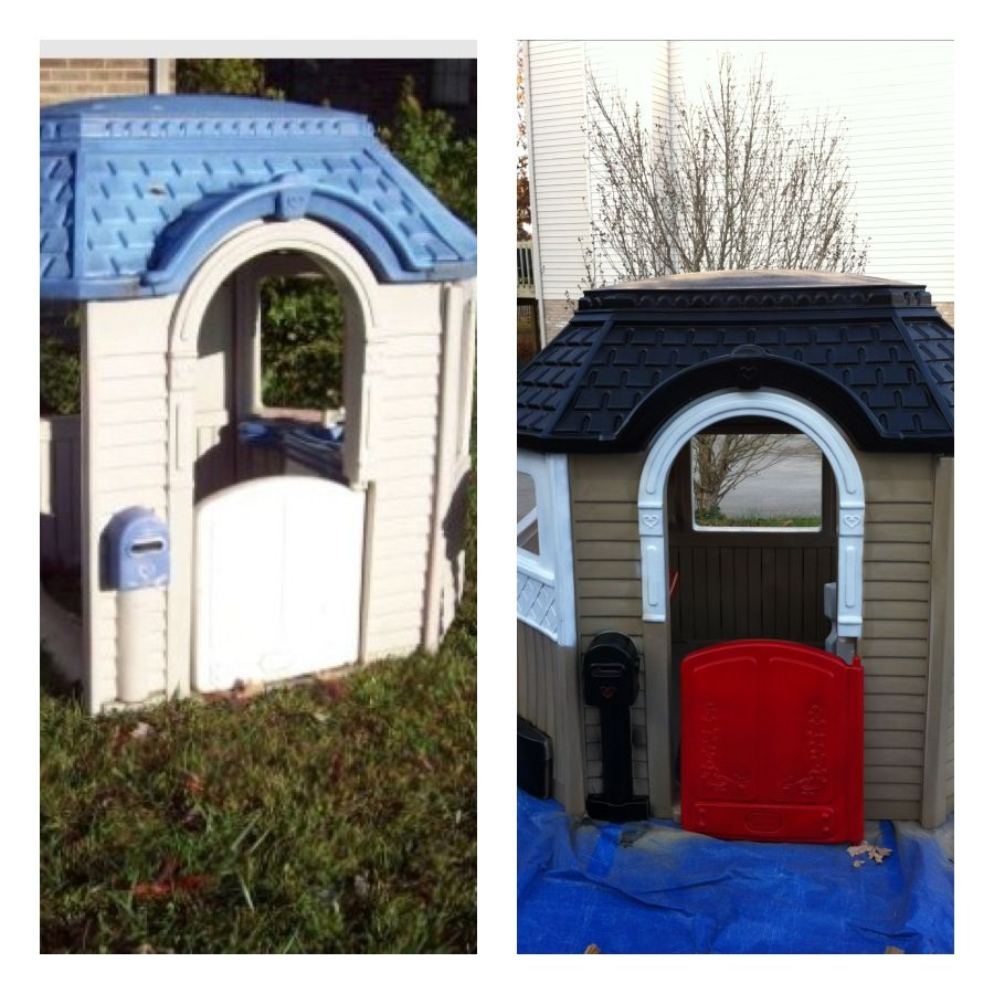 incredible Little Tikes Victorian Cottage Part - 12: Little Tikes Cottage play house. Before and after