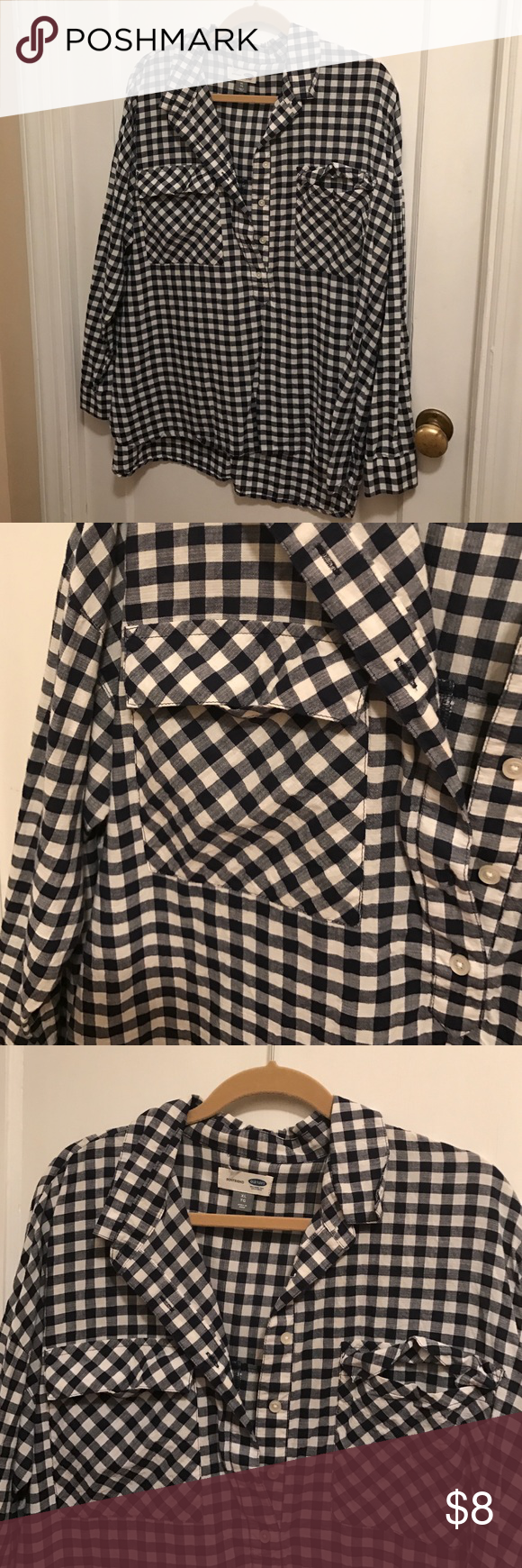 Xl boyfriend old navy top Oversized and comfy boyfriend fit half button up!  Navy and white check. Double pocket 100% cotton Tops Button Down Shirts