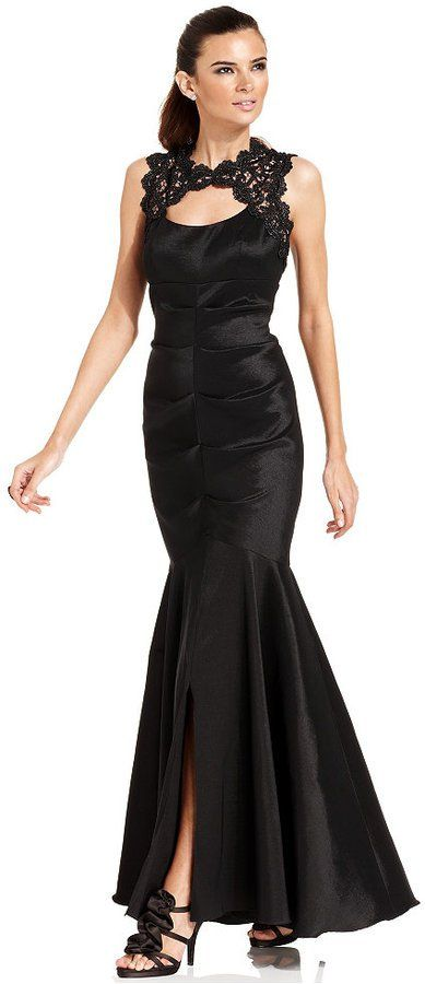 Xscape Evenings Petite Sleeveless Glitter-Lace Mermaid Gown | Lace ...