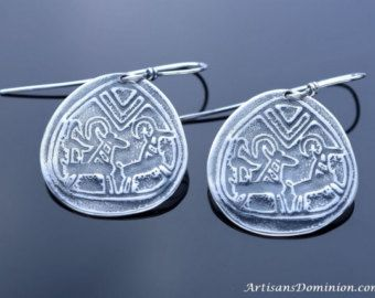 Ancient Egypt 925 Silver Scarab Earrings, Replica Earrings