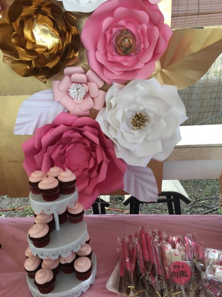 Pink White And Gold Theme Babyshower Candy Cake Dessert Table Decoration Paper Flower Backdrop Dessert Table Decor Paper Flowers Paper Flower Backdrop