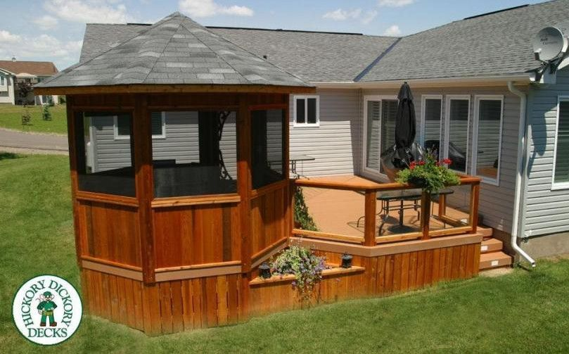 Deck With Screened Gazebo Interesting Ideas For Home Gazebo
