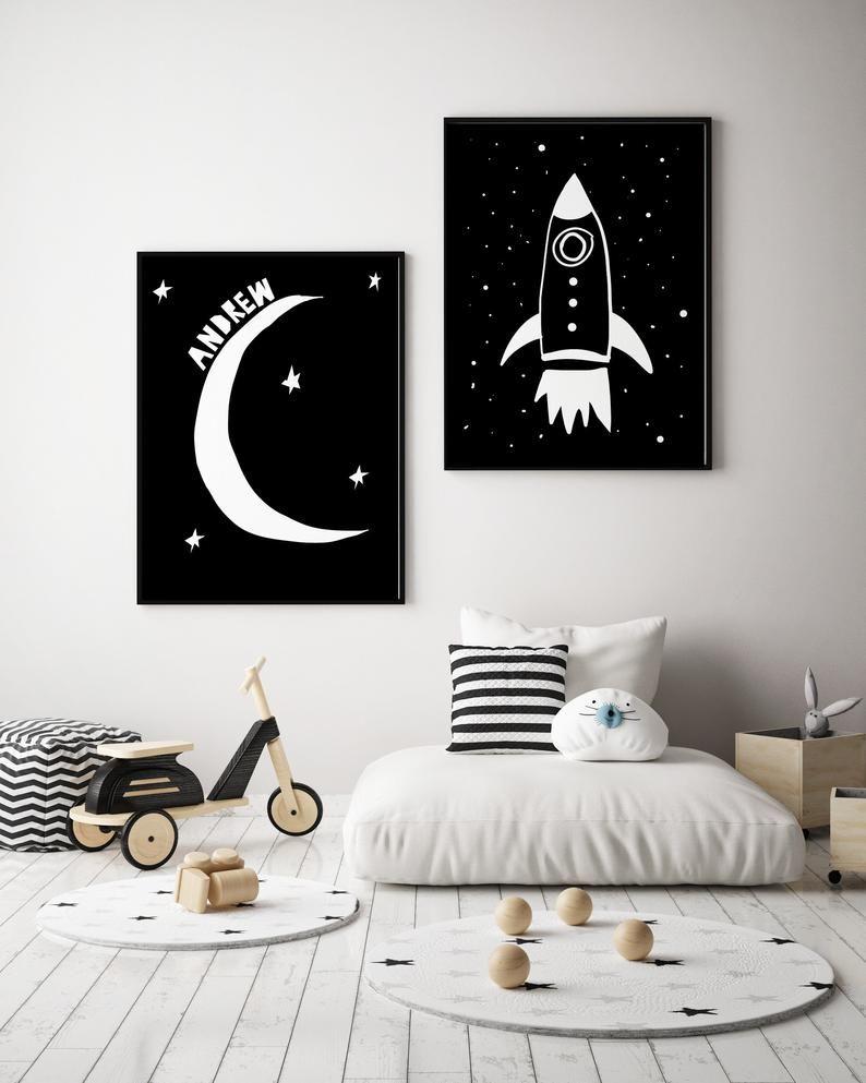Custom Moon Name Print in Black and White for Toddler Room  Etsy