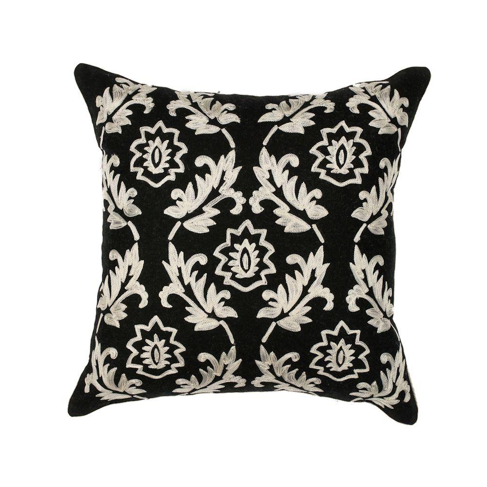 Kas Rugs Floral Scape Black White Polyester Standard Throw Pillow Black White Decorative Pillows Throw Pillows White Decorative Pillows