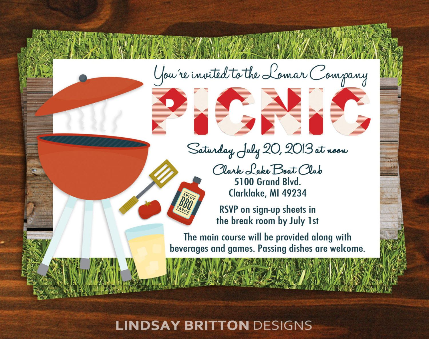 Lovely Family Or Company Picnic Invitation By Lindsaybrittondesign  Company Party Invitation Templates