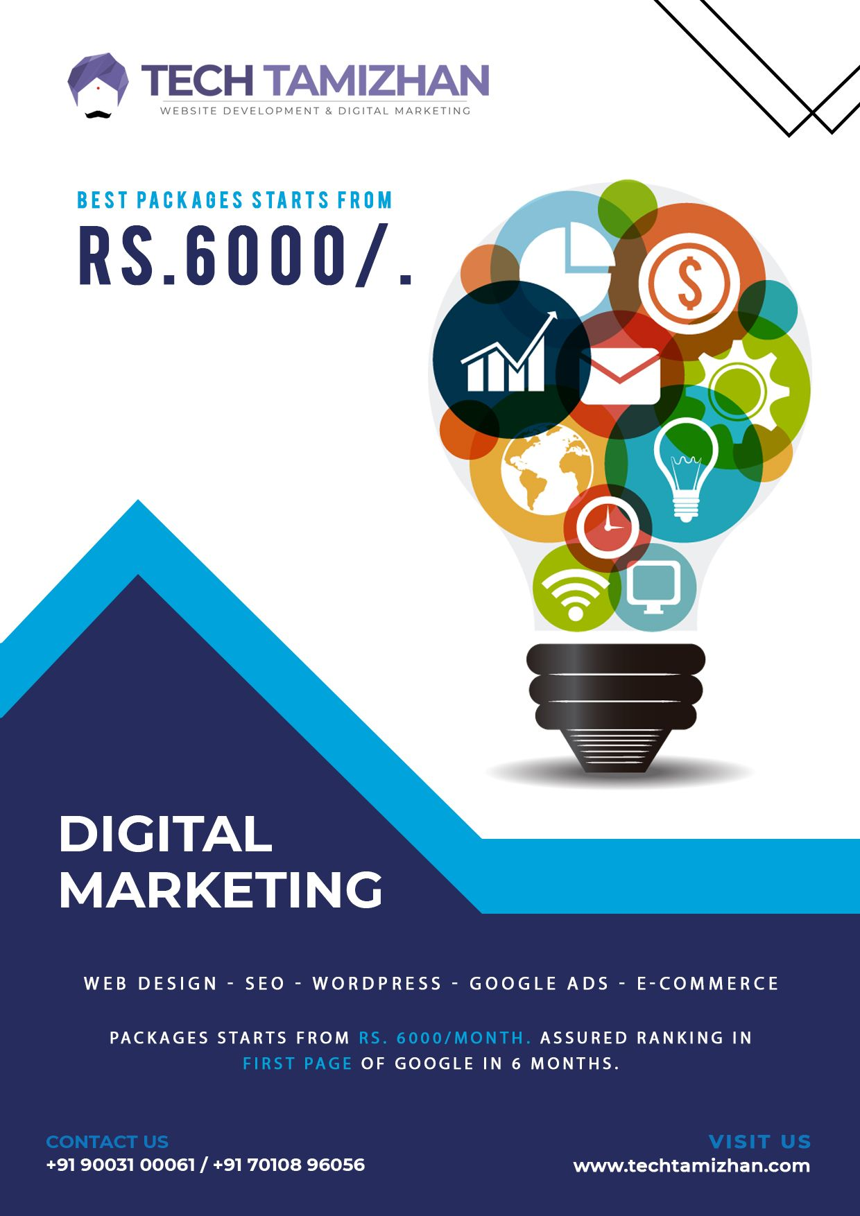 Digital Marketing Packages Start From Rs 6000 Month Assured Ranking In The First Page Of Goog Web Development Design Freelance Web Design Ios App Development