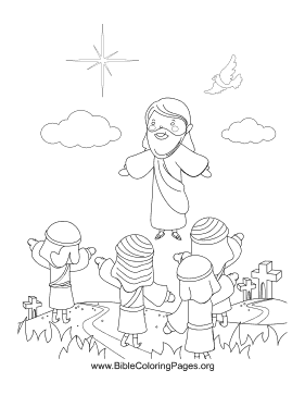 The Apostles Watch In Wonder As Jesus Ascends To Heaven This Resurrection Coloring Page