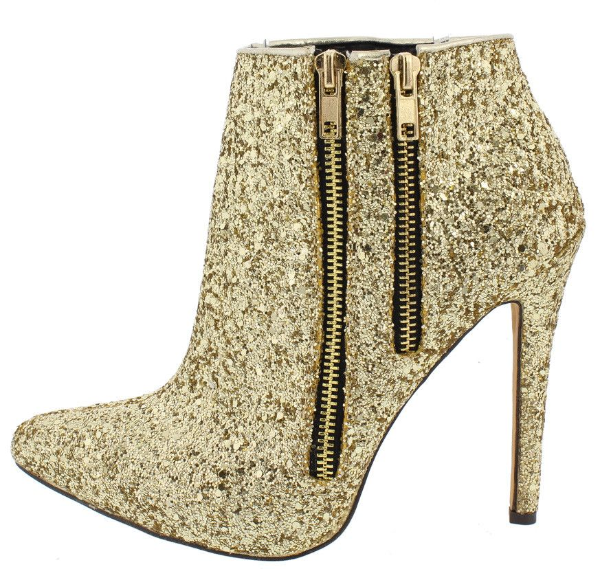 JADE01 GOLD METALLIC GLITTER POINTED TOE DUAL ZIPPER ANKLE BOOT ONLY $14.88
