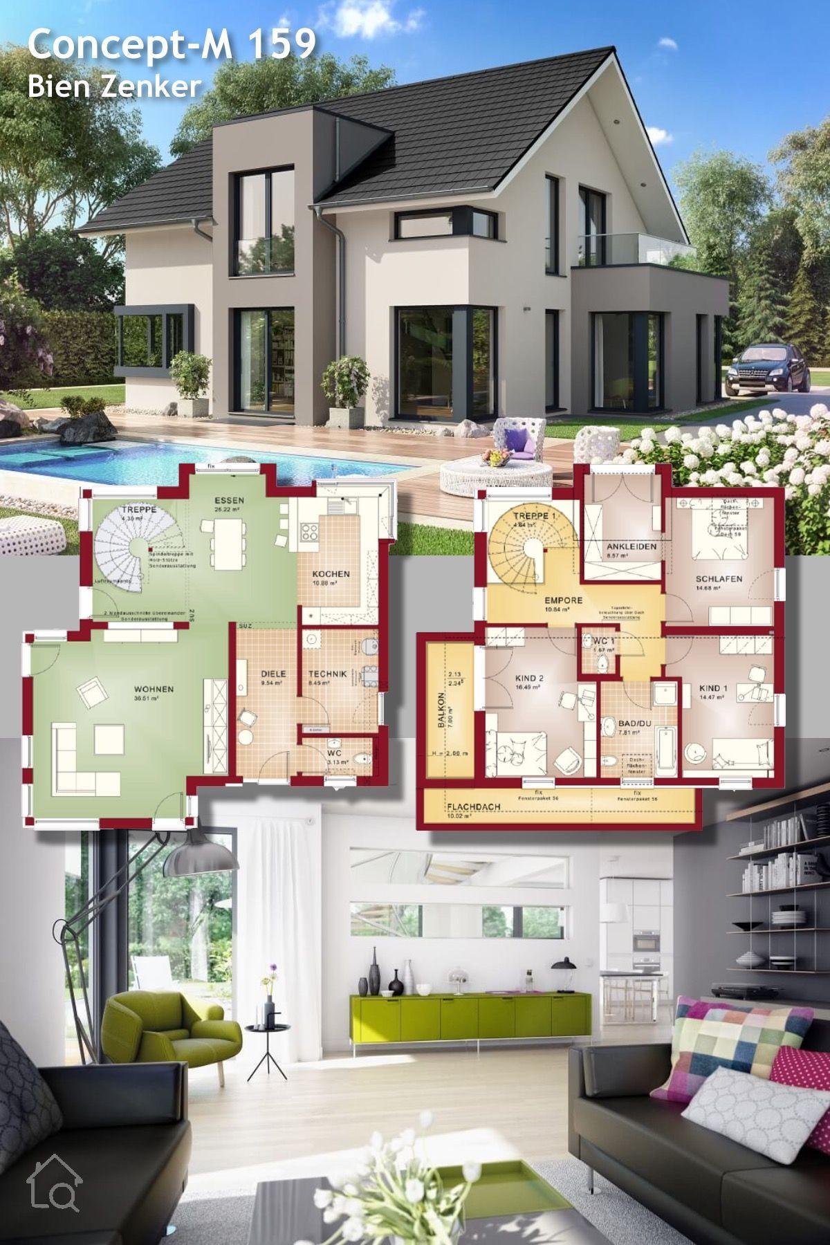 Modernes Einfamilienhaus Mit Satteldach Und Erker   Fertighaus Concept M  159 Bien Zenker   Haus