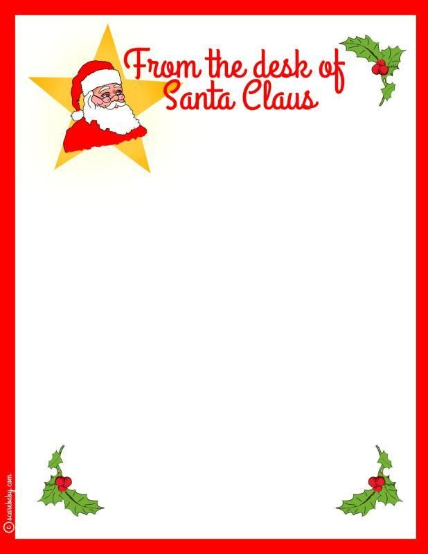 Free Printable Santa Stationery From The Desk Of Santa Claus