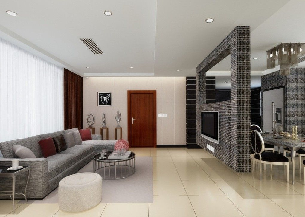 Schemeate Tv Space Divider Also Brick Wall For Partition Between Dining Space Also Living Space Also Grey Sofa Also Rou Living Room Divider Room Divider Design