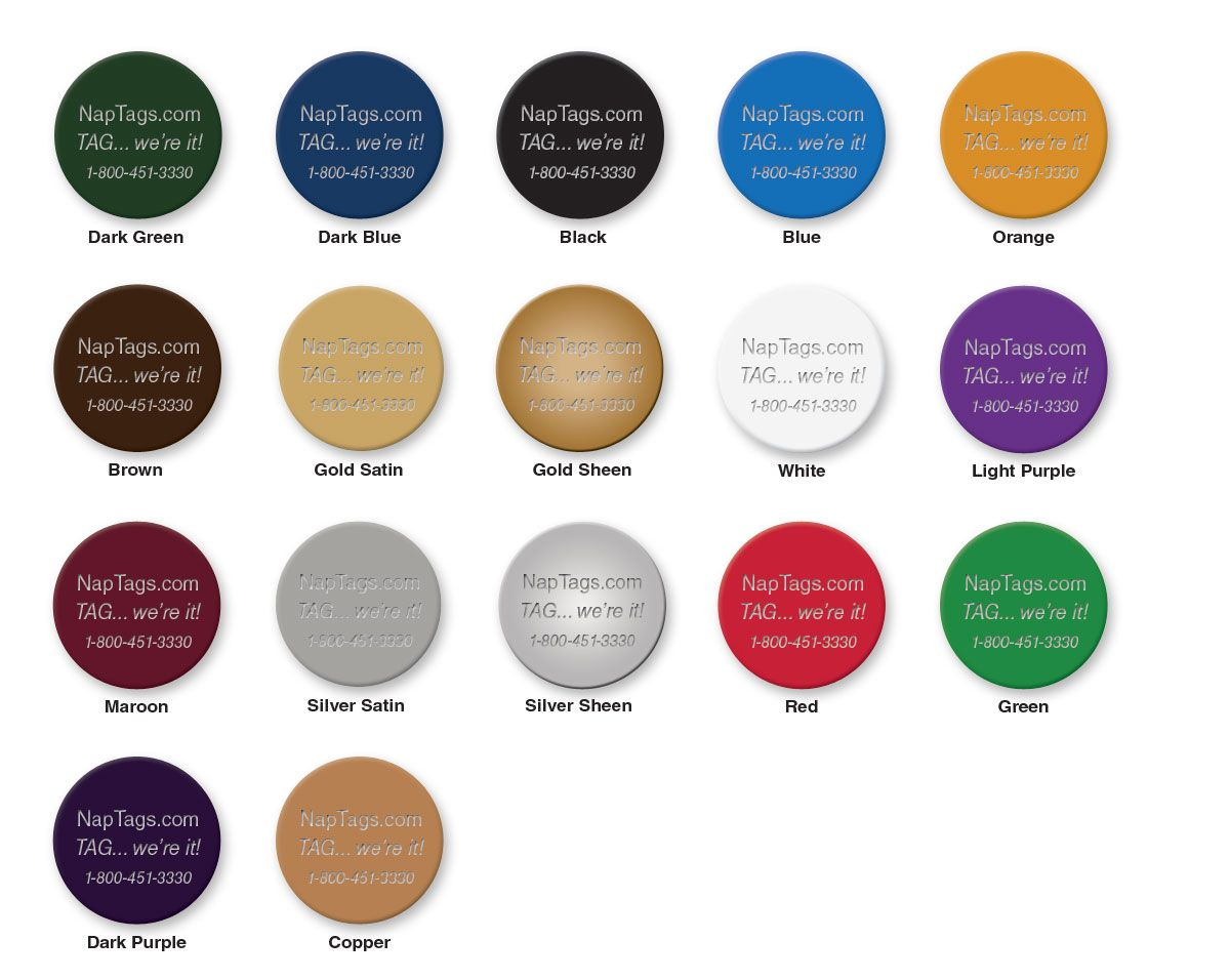 Anodized aluminum colors. Engraving shows through as