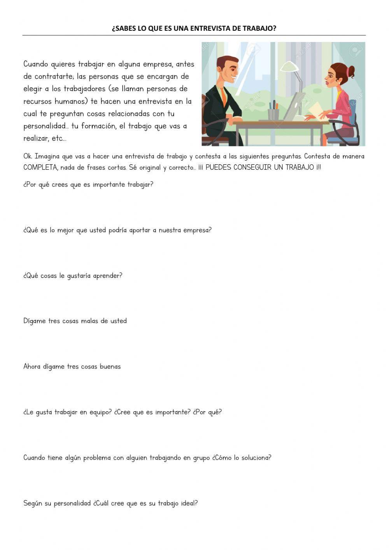 Ficha Online De Entrevists Para Sexto Puedes Hacer Los Ejercicios Online O Descargar La Fic Entrevista De Trabajo Actividades De Escritura Comprensión Lectora