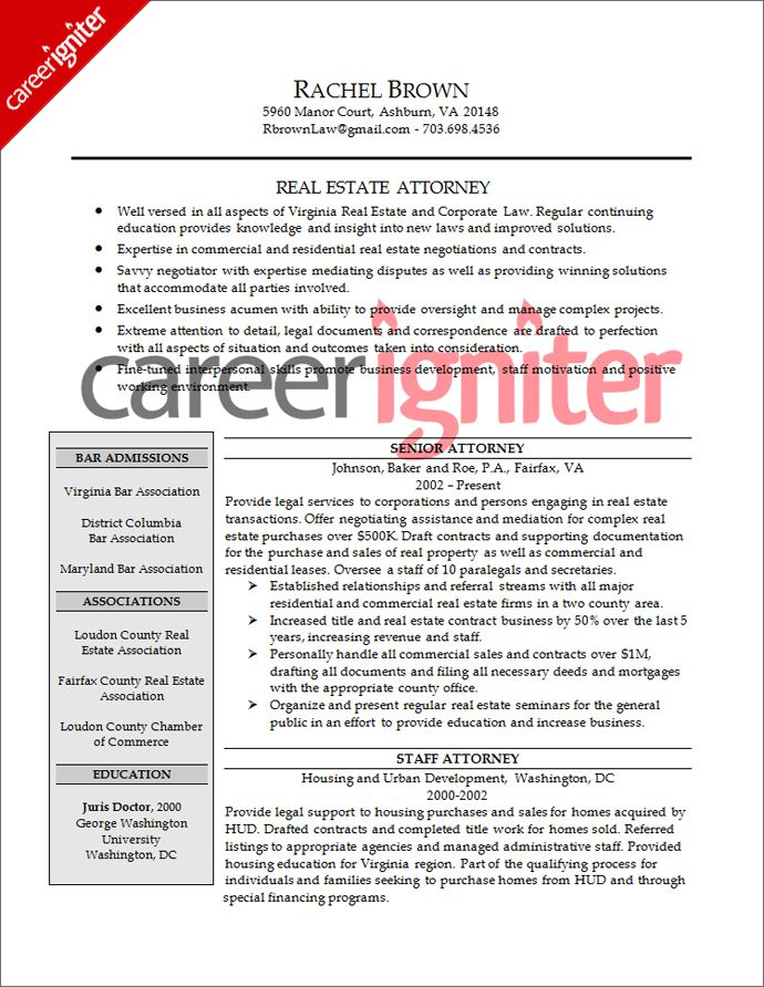 Attorney Resume Sample Resume Pinterest Job search - real estate attorney resume