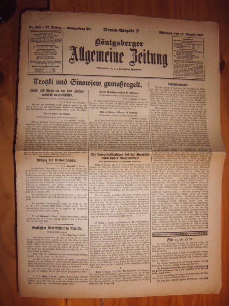Konigsberg Zeitung 10 8 1927 Ostpreussen Kaliningrad Trotzki