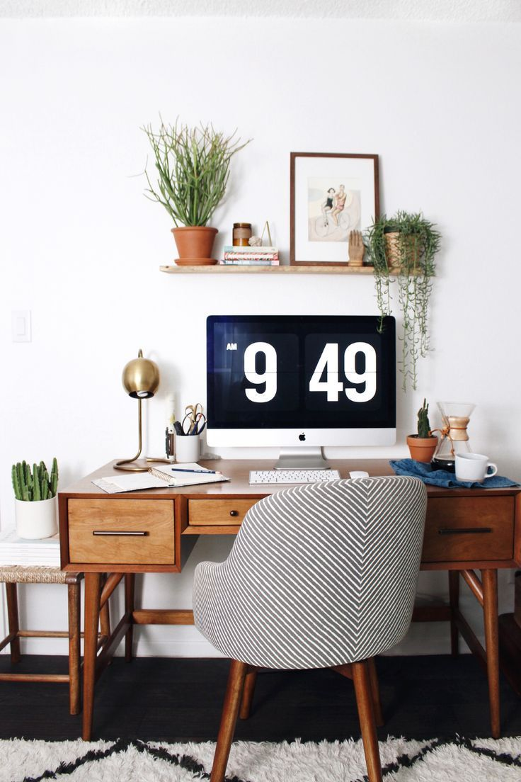 home office retro warm wood plants simple love this scheduled