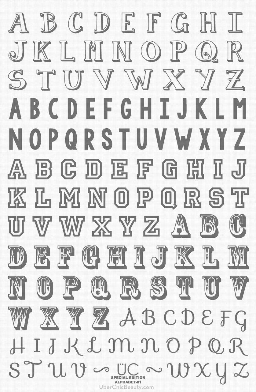 Uberchic Beauty Alphabet 01 Hand Lettering Alphabet
