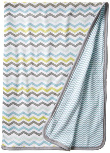 SkipHop Baby Boys' Starry Chevron Reversible Welcome Receiving Blanket, Blue, One Size. 100 percent cotton. Machine washable. One size: 30 x 40.