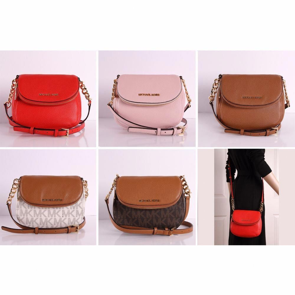 37eee879f7f9 NWT Michael Kors Bedford Flap Crossbody Bag Small Leather PVC Shoulder  Handbag  MichaelKors  Crossbody