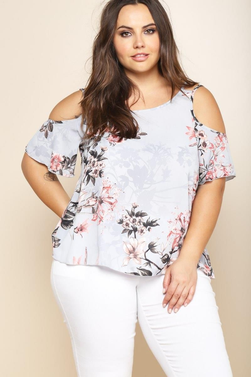A plus size blouse with a big round neckline. Features short sleeves ...
