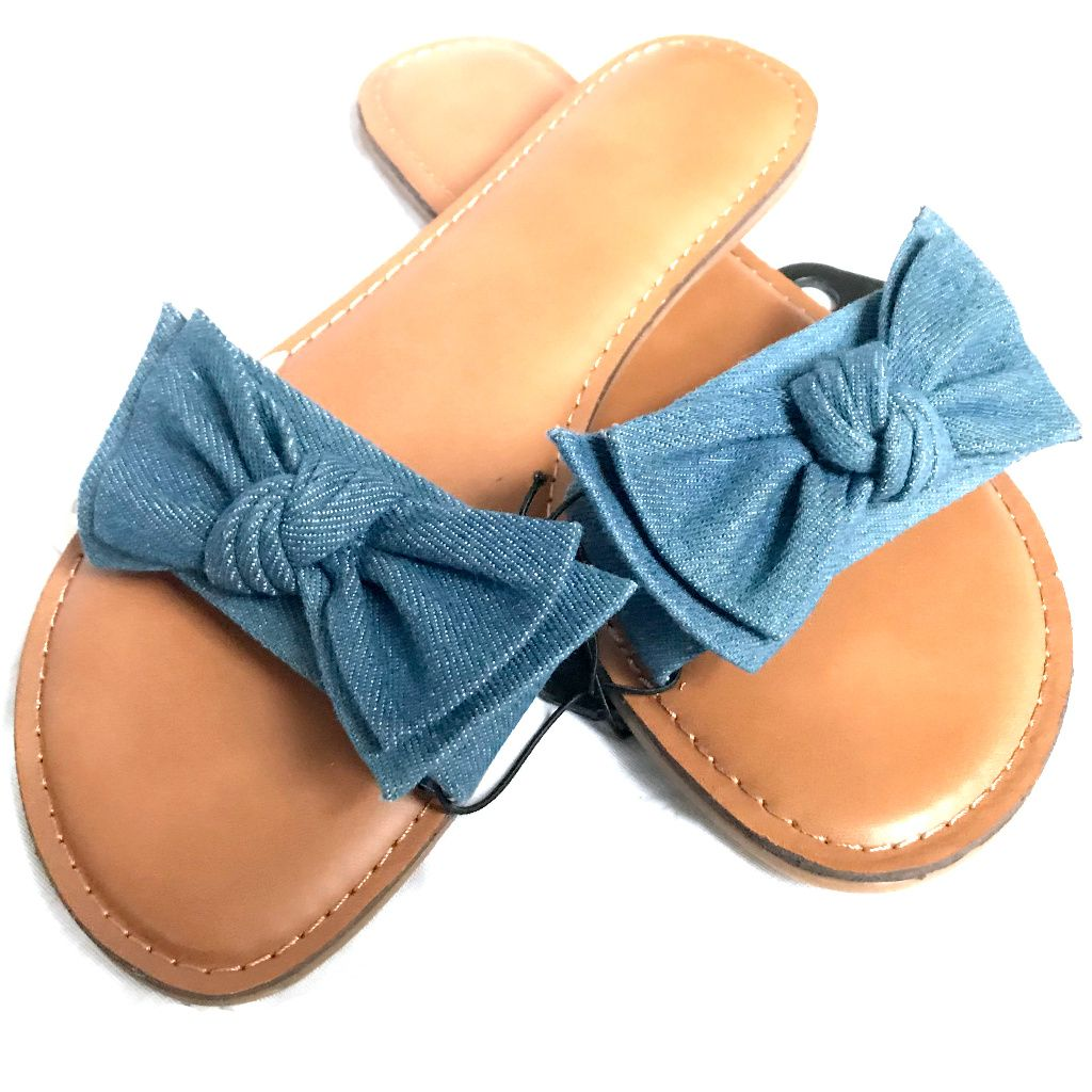 Time and Tru Sandals Blue Bow Size 7 New