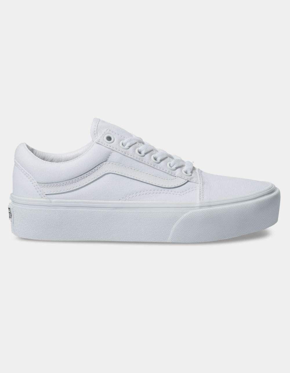 VANS Old Skool Platform True White Shoes in 2020   Vans old