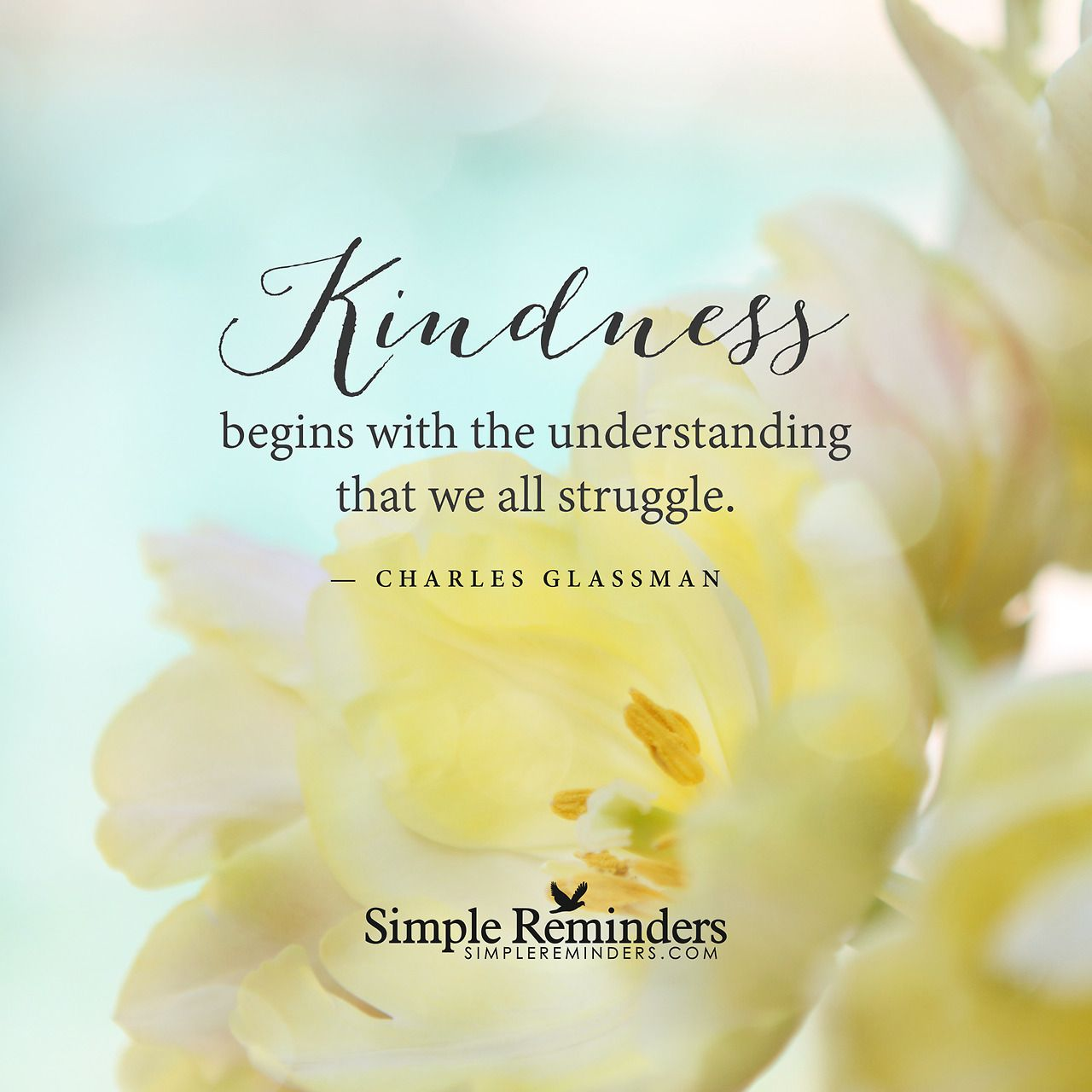 "Image result for Kindness begins with the understanding that we all struggle."" -Charles Glassman"