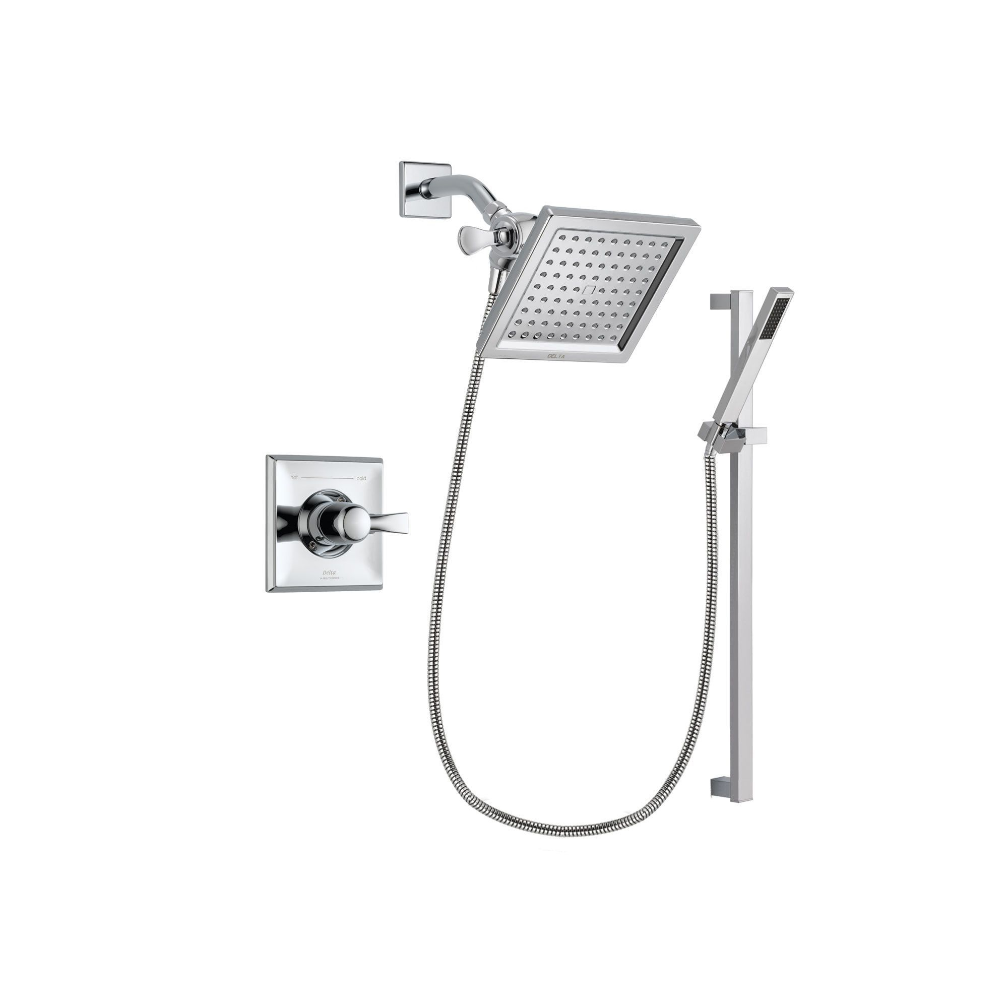 Delta Dryden Chrome Shower Faucet System With Shower Head Hand