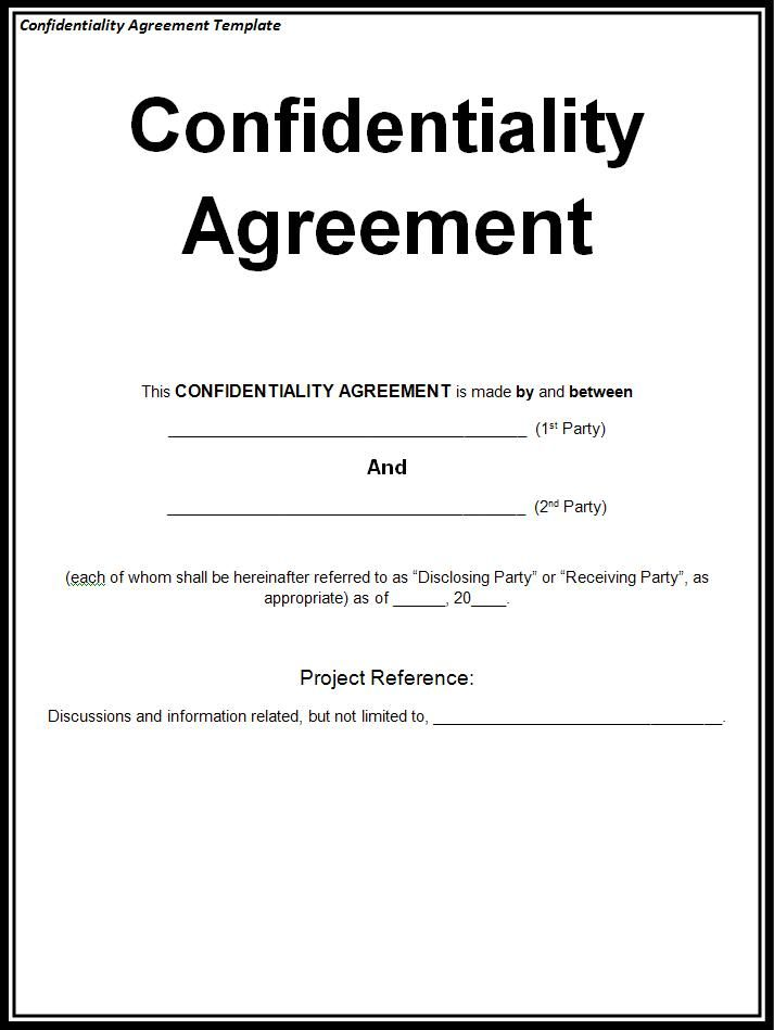 Confidentiality Agreement,confidentiality Agreement Sample