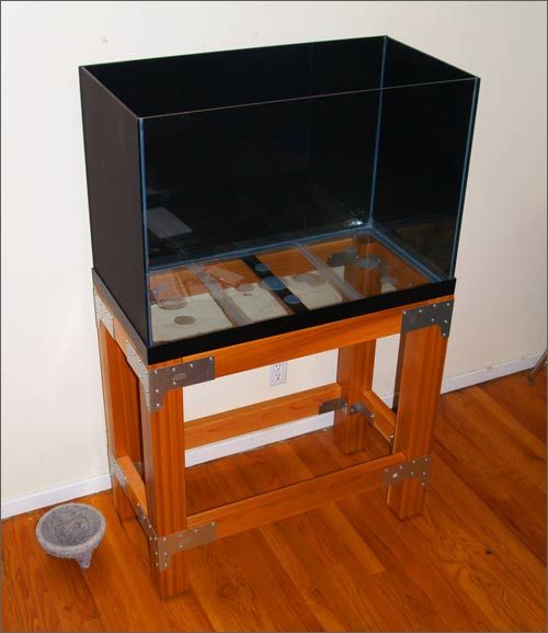 Stand build in raw industrial style diy aquarium for Fish tank table stand