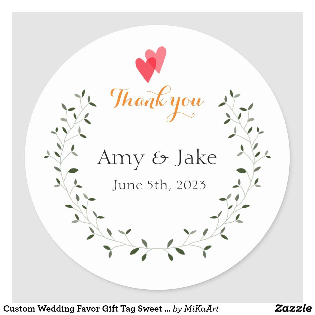 Custom wedding favor gift tag sweet green garden zazzle