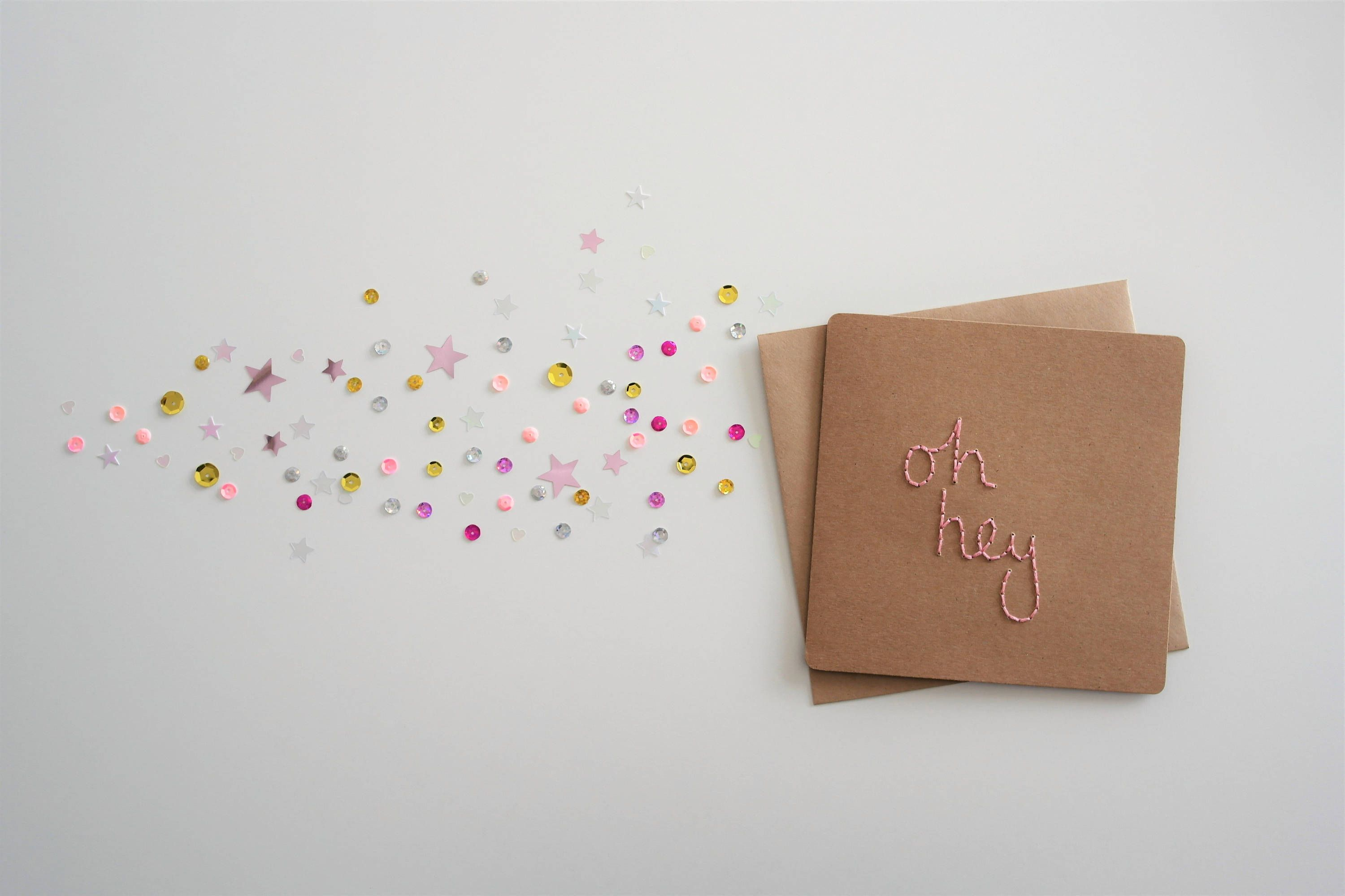 Hand embroidered hand sewn pink oh hey greeting card birthday thank hand embroidered hand sewn pink oh hey greeting card birthday thank you blank card great for snail mail comes with sequin confetti teen card m4hsunfo