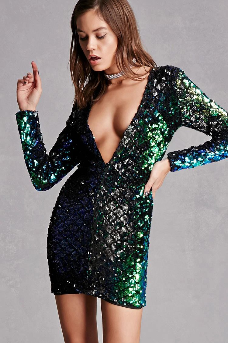 A knit bodycon dress featuring a sequin design a plunging v