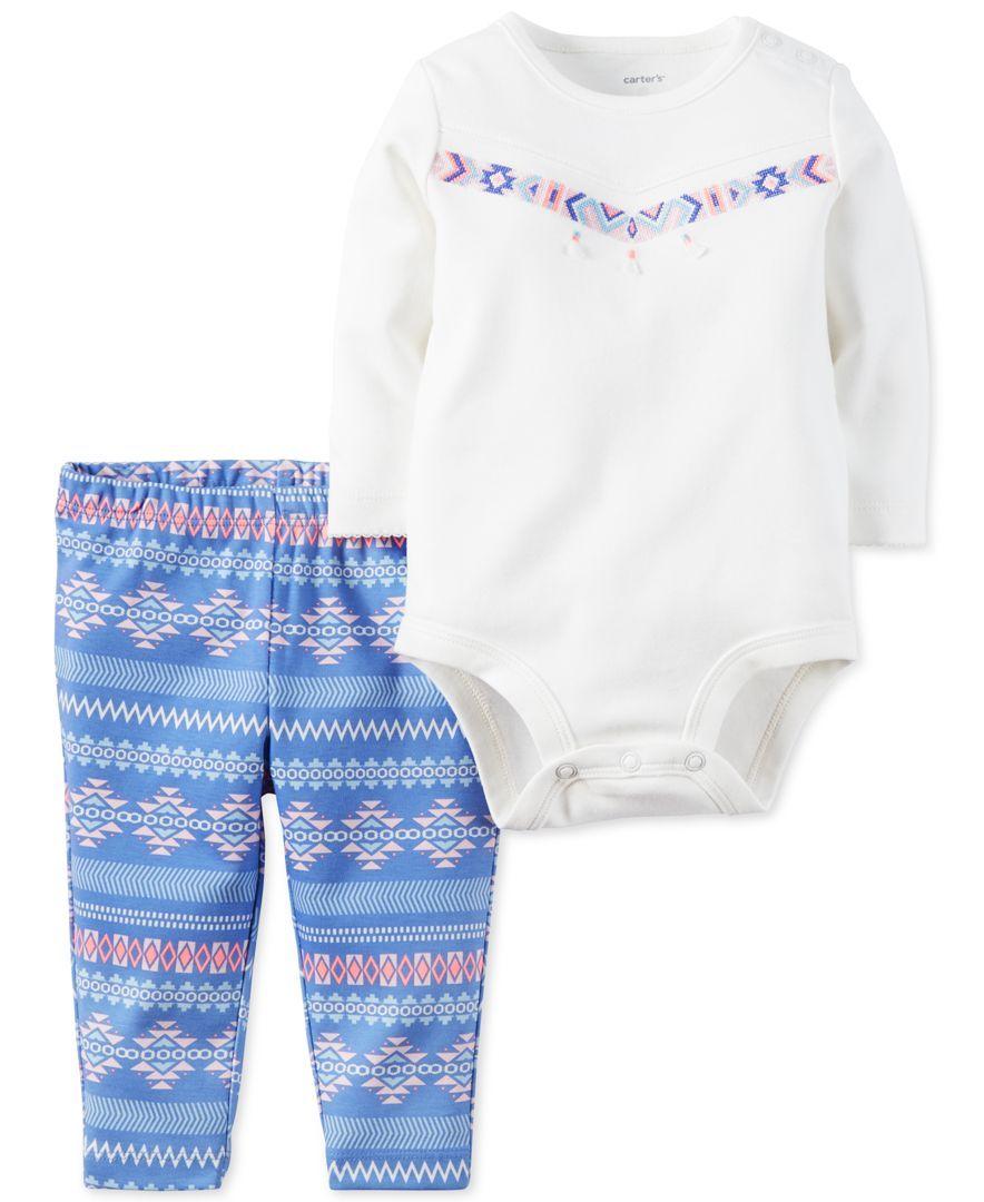 998dbb7f1 Carter s Baby Girls  2-Pc. Long-Sleeve Bodysuit   Aztec-Print Pants ...