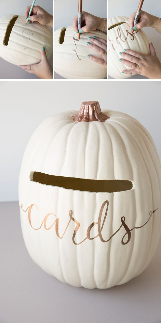 Wedding Card Box Is a MUST For Your Fall Wedding! Learn how to turn a foam pumpkin into the most perfect fall wedding card box!Learn how to turn a foam pumpkin into the most perfect fall wedding card box!