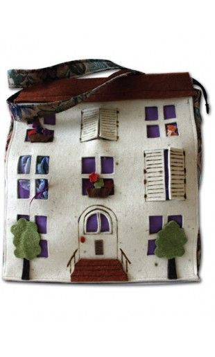 """#bags #borse #handmade #artigianali #felt #feltro #home #dollhouse #shopper Borsa in feltro """"Casa delle Bambole"""""""