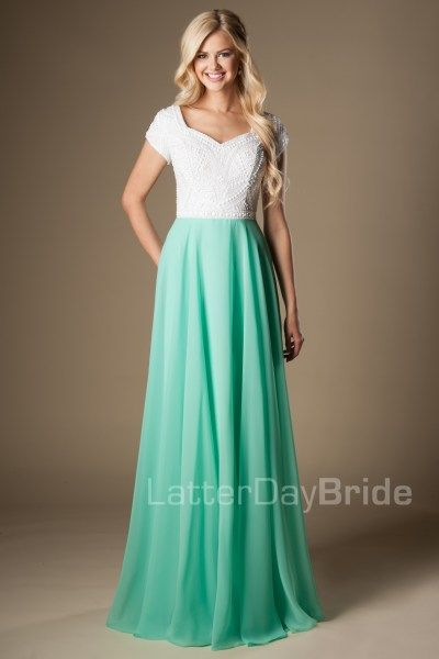 modest-prom-dress-jade-front-aqua.jpg | Sarah Dresses | Pinterest ...