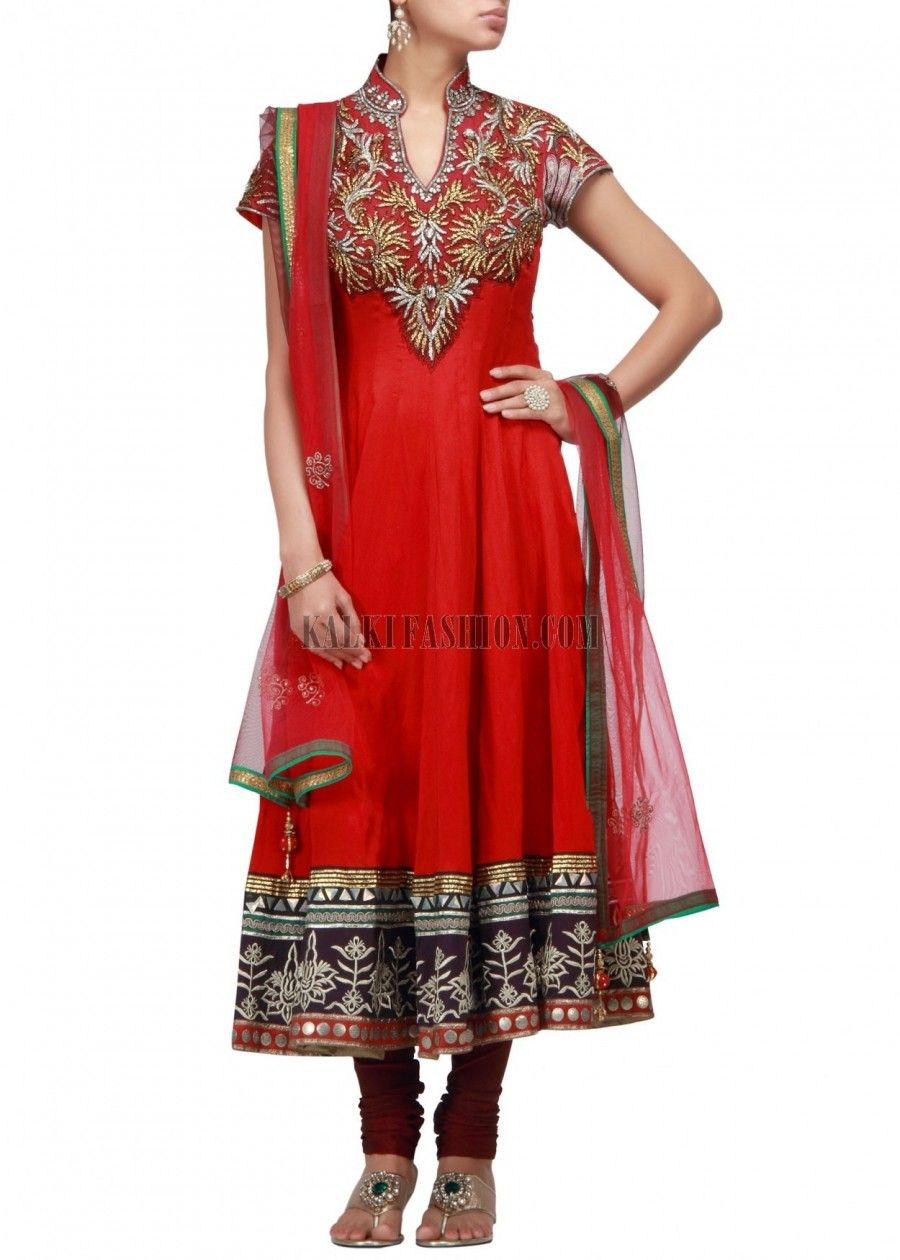 JAG FOX Anarkali suit in red silk with neckline embellished in gotta patti and sequence work on front and back.The hem line is done in zari embroidery along with sequence.Churidar is in maroon lycra and dupatta is in red net with zari embroidered butti and sequence lace.Length is 50