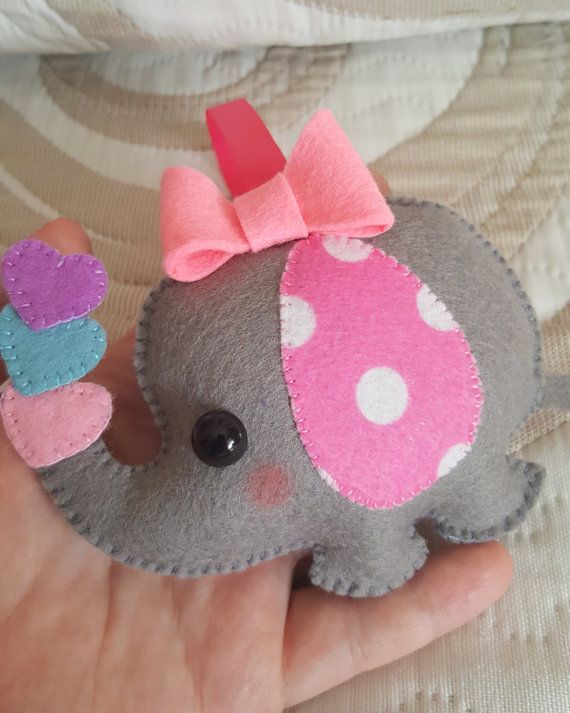 PDF Pattern - Elephant Baby Girl, Animal Ornament Pattern, Felt Softie Sewing Pattern, Felt Elephant Ornament, Felt elephant pattern, #mygirl
