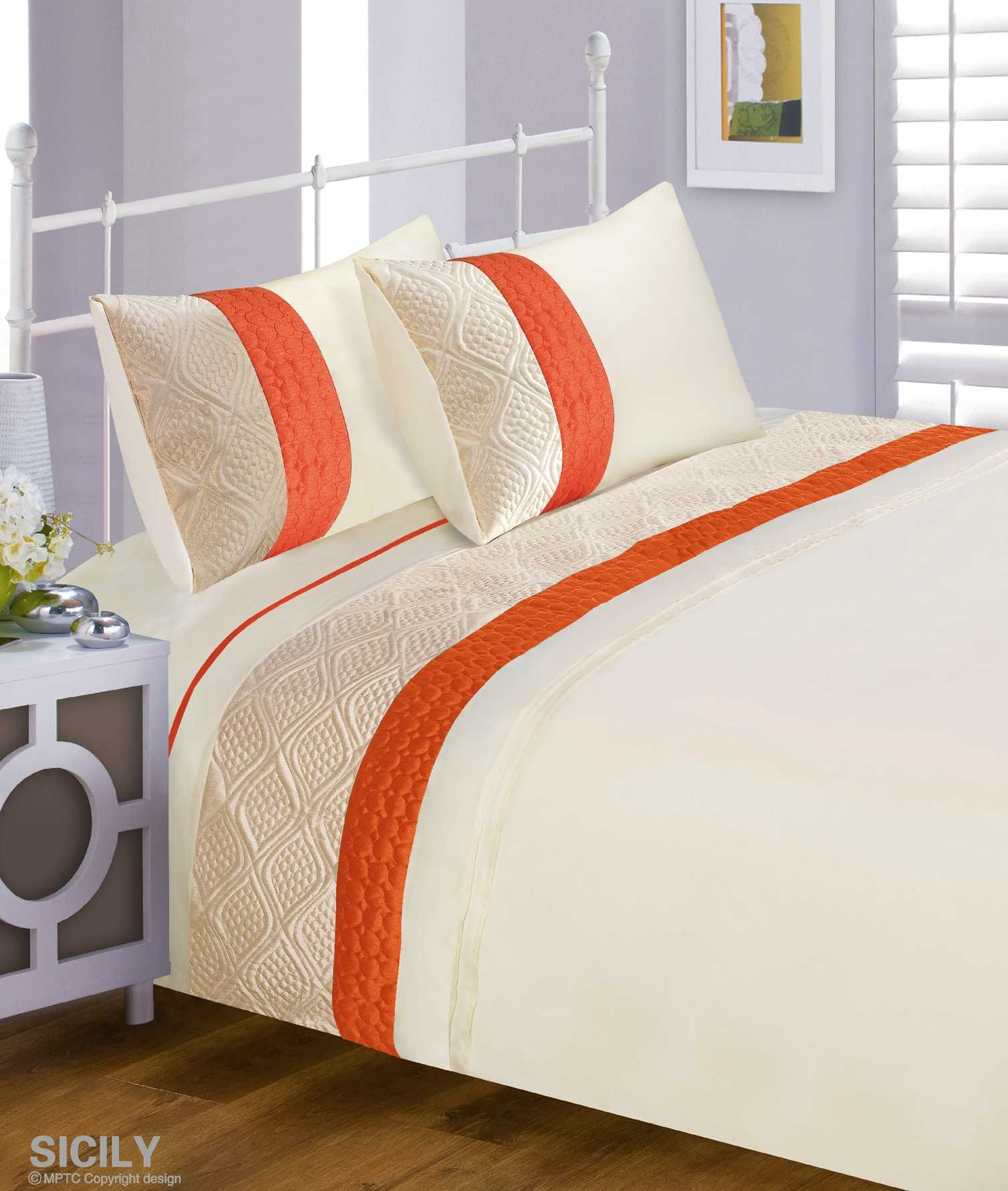 Double Bed Orange Sicily Modern Stylish Ribbed Duvet Quilt Cover Bedding Set   Amazon.co f9f532cde8c8