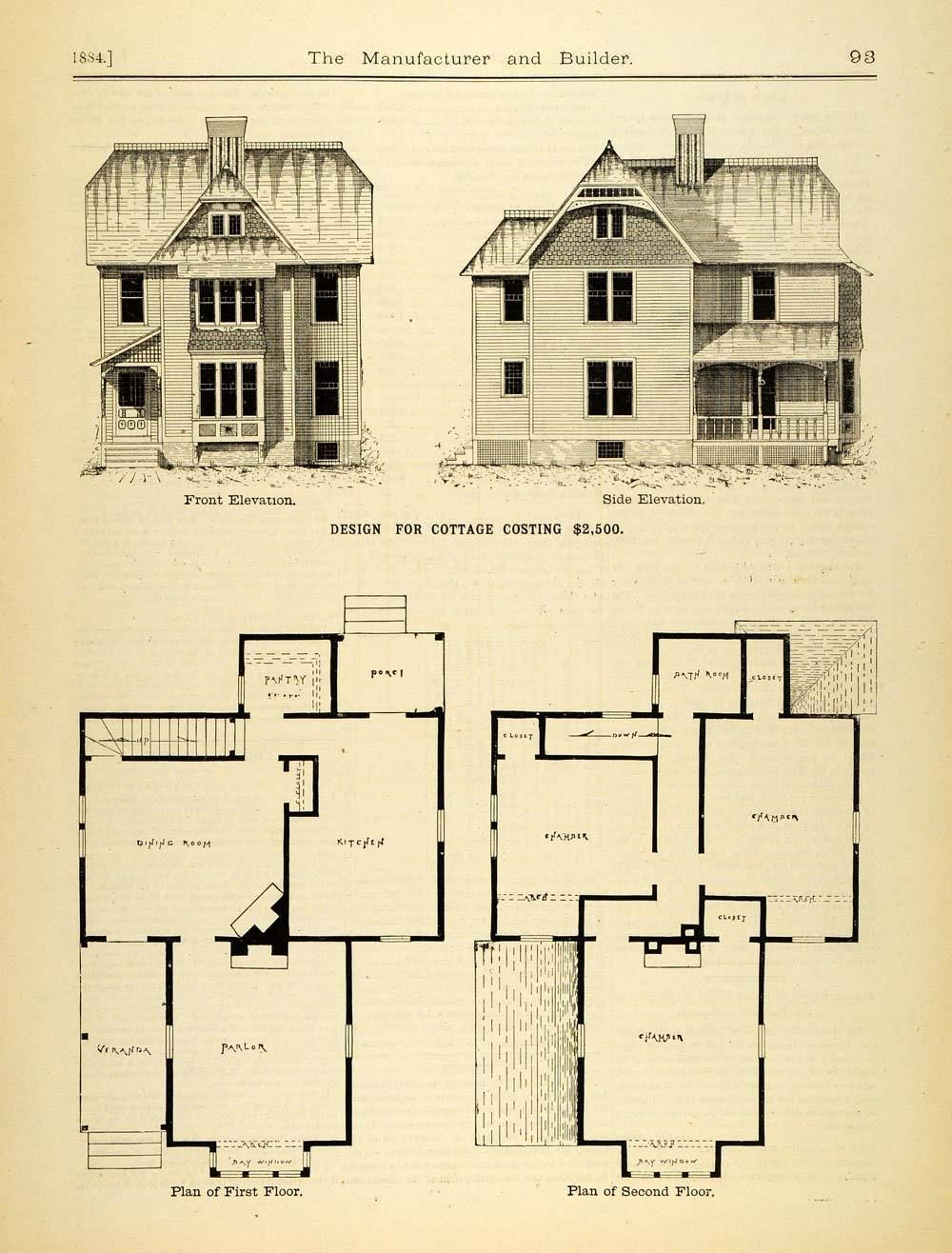 1884 Print Victorian Cottage House Architecture Floor Plans Elevations Mab1 Ebay Modern House Plans Victorian House Plans Floor Plans