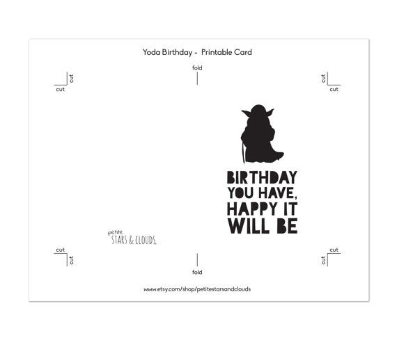 photograph about Star Wars Birthday Card Printable Free named Star Wars Bithday, Yoda Card, Star Wars Birthday Card