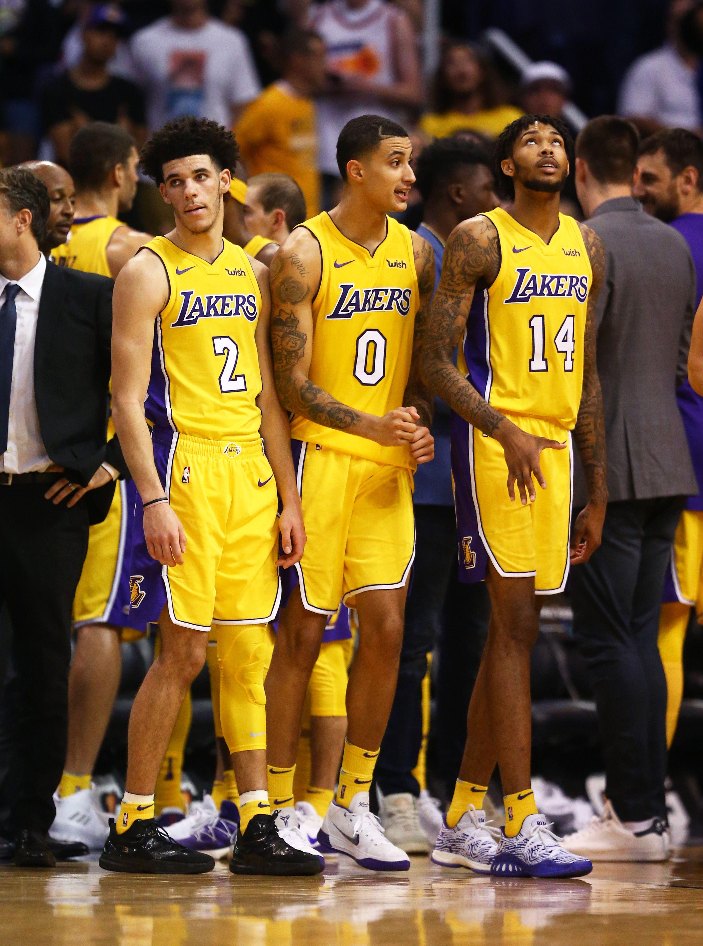 Lakers Nba Basketball Kyle Kuzma Lonzo Ball Brandon Ingram Basketball Court Size Basketball Tshirt Designs Basketball Girls