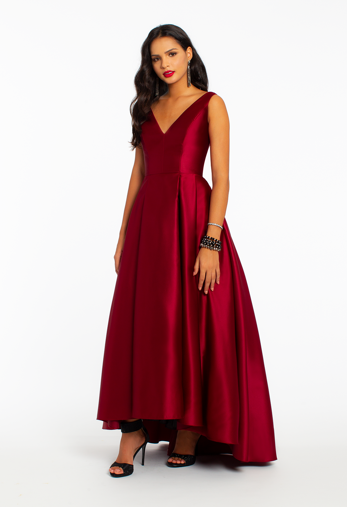 V Neck Satin High Low Ball Gown Dress High Low Ball Gown Dresses Ball Gowns [ 1732 x 1184 Pixel ]