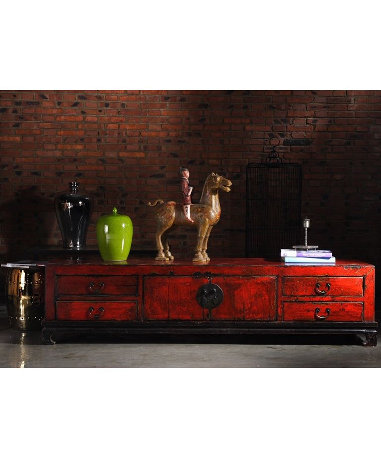Elegant Shanghai Sideboard Red   £1,050.00 (W204cm H50cm D45cm). Low Sideboard Chinese CabinetChinese FurnitureSoft ...